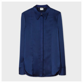 Women's Blue Satin Shirt