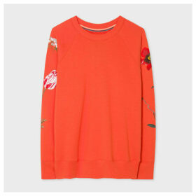 Women's Orange 'New Masters' Floral Embroidery Sweatshirt