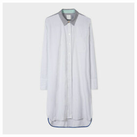 Women's Black And White Thin Stripe Long Cotton Shirt