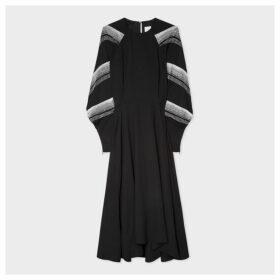 Women's Black Long-Sleeve Maxi Dress With Bugle Beaded Sleeves