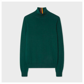 Women's Dark Green Roll-Neck Cashmere Sweater