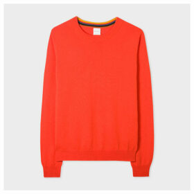 Women's Orange Cashmere Sweater With 'Artist Stripe' Trims