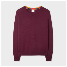 Women's Damson Cashmere Sweater With 'Artist Stripe' Trims