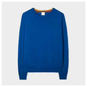 Women's Indigo Cashmere Sweater With 'Artist Stripe' Trims