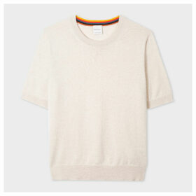 Women's Ecru Short-Sleeve Cashmere Sweater
