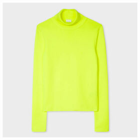 Women's Neon Yellow Roll-Neck Sweater