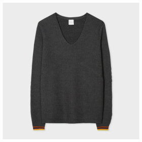 Women's Charcoal Ribbed Merino-Wool Sweater With 'Artist Stripe' Trims