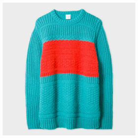 Women's Turquoise Oversized Chunky-Knit Sweater With Orange Stripe Detail
