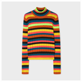 Women's Neon Stripe Wool-Blend Roll-Neck Sweater