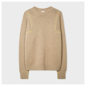 Women's Taupe Wool Sweater With Yellow Stitching Details