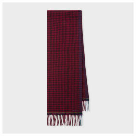 Women's Burgundy Check Double-Face Wool Scarf