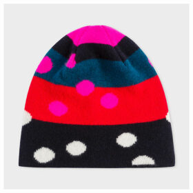 Women's Multi-Coloured Polka Dot Wool Beanie Hat