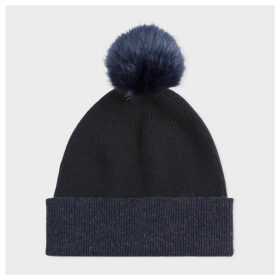 Women's Dark Navy Pom-Pom Wool Beanie Hat