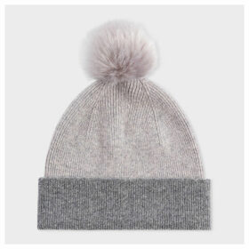 Women's Light Grey Pom-Pom Wool Beanie Hat