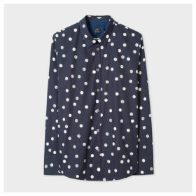 Women's Navy Polka Dot Cotton Shirt With Contrast Back Panel