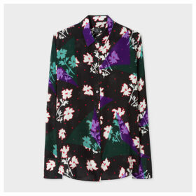 Women's Black 'Electric Petunia' Print Silk Shirt