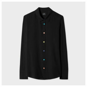 Women's Black Silk Shirt With Multi-Coloured Button Placket
