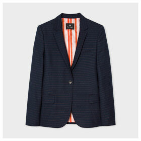 Women's Navy Pin Dot And Stripe Wool-Blend Blazer