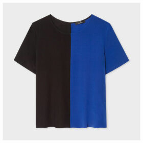 Women's Black And Indigo Silk Top