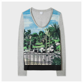 Women's Grey Marl 'Palm Garden' Long-Sleeve T-Shirt