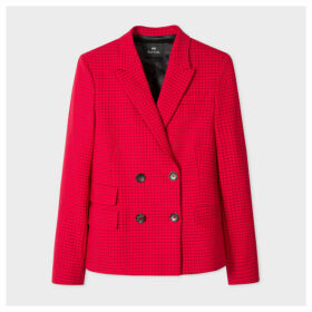 Women's Red Mini Windowpane Check Wool-Blend Double-Breasted Blazer