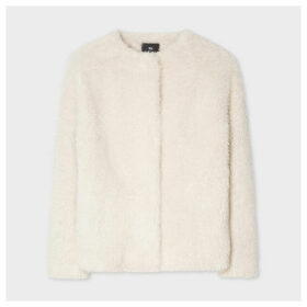 Women's Cream Faux Fur Collarless Coat