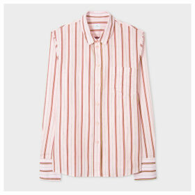Women's Pink Stripe Cotton-Blend Shirt With Contrast Cuffs