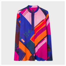 Women's Multi-Coloured 'Flag' Print Band-Collar Tunic Shirt