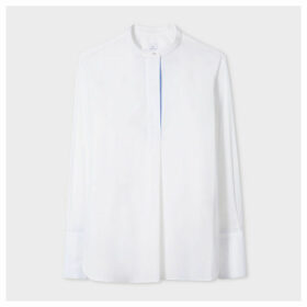 Women's White Band-Collar Cotton Tunic Shirt