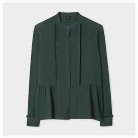 Women's Dark Green Ruffle Silk-Blend Shirt