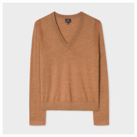 Women's Tan V-Neck Wool Sweater With Contrasting Cuff Lining