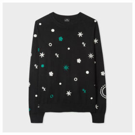 Women's Black 'Supersonic' Embroidery Wool-Blend Sweater