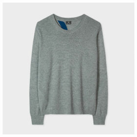 Women's Grey Open Back Wool-Blend Sweater