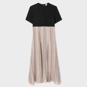 Women's Beige Colour-Block V-Neck Wool-Blend Sweater
