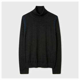 Women's Black Roll-Neck Wool Sweater