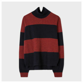 Women's Dark Navy And Burgundy Stripe Funnel Neck Lambswool-Blend Sweater