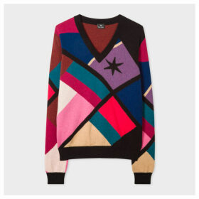 Women's Geometric Intarsia V-Neck Wool-Blend Sweater