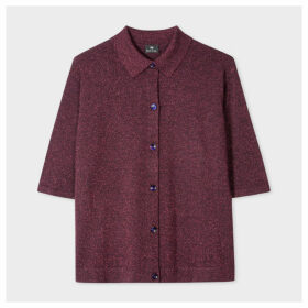 Women's Burgundy Glitter Oversized Knitted Shirt