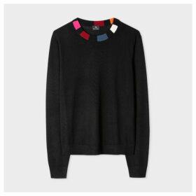 Women's Black Stripe-Collar Wool Sweater