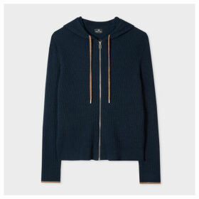 Women's Navy Ribbed Wool Cardigan With Hood