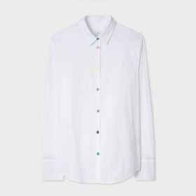 Women's White Stretch-Cotton Shirt With 'Swirl' Cuff Lining
