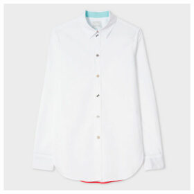 Paul Smith For Men In Black: International - Women's Slim-Fit White Cotton Shirt With Charm Buttons