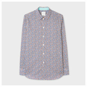 Women's Slim-Fit Blue 'Floral' Print Cotton Shirt