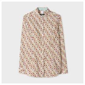 Women's White 'Painted Floral' Print Shirt