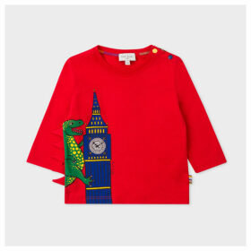 Babies Red 'Dino Clock' Print Long-Sleeve T-Shirt