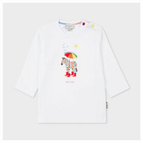 Babies White 'Weather Zebra' Print Long-Sleeve T-Shirt