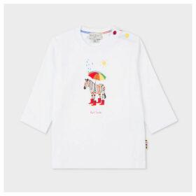 Babies White 'Weather Zebra' Print Long-Sleeve T-Shirt