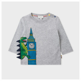 Babies Grey Marl 'Dino Clock' Print Long-Sleeve T-Shirt