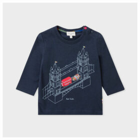 Babies Navy 'Mini On Tower Bridge' Print Long-Sleeve T-Shirt