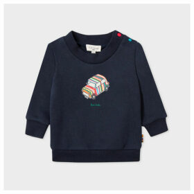Babies Navy 'Mini' Print Sweatshirt